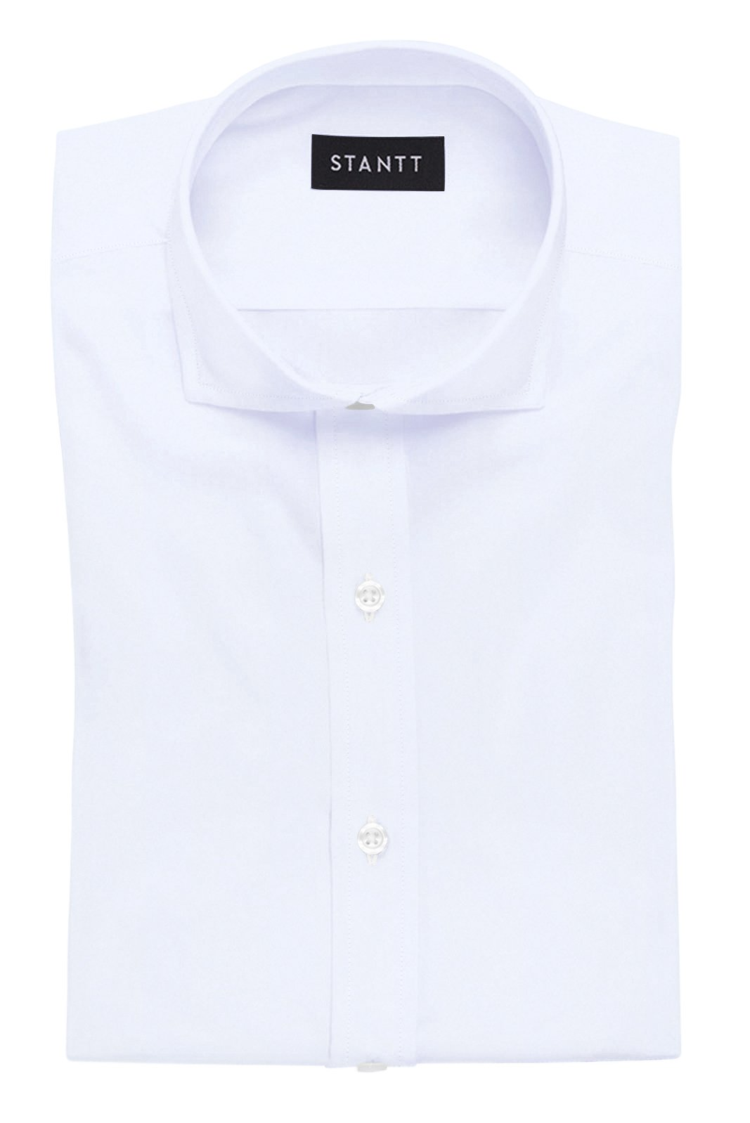 White Luxe Traveler's Twill: Cutaway Collar, French Cuff