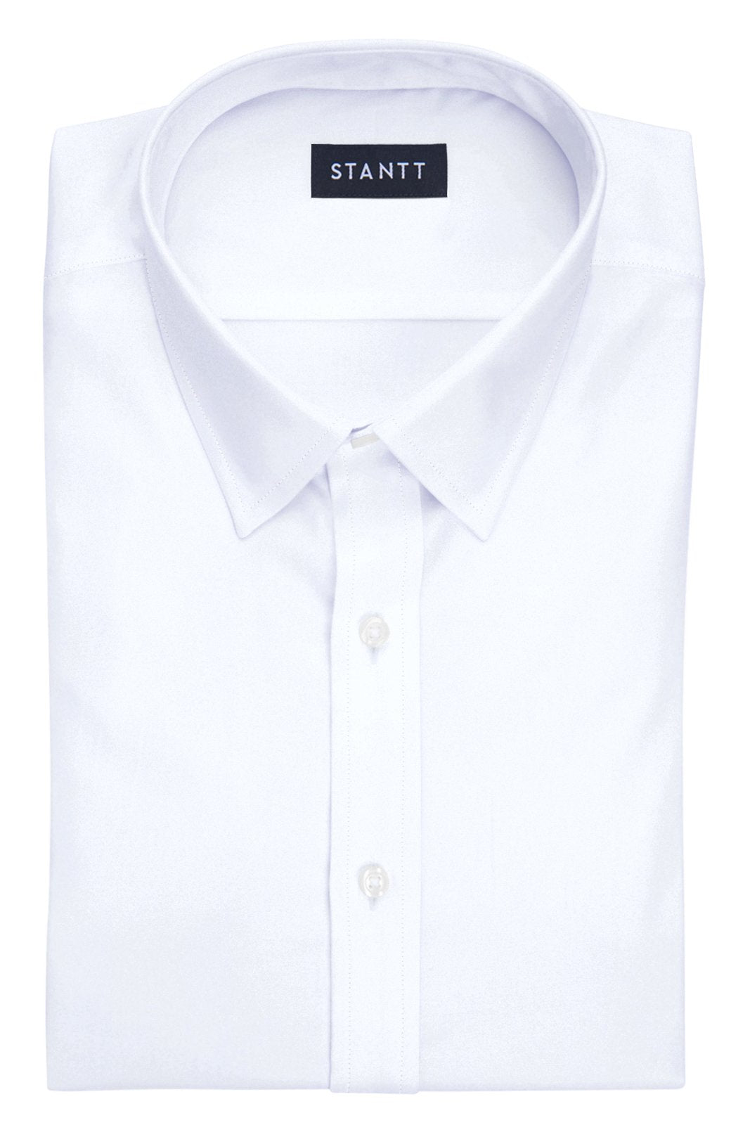 White Luxe Traveler's Twill: Semi Collar, French Cuff