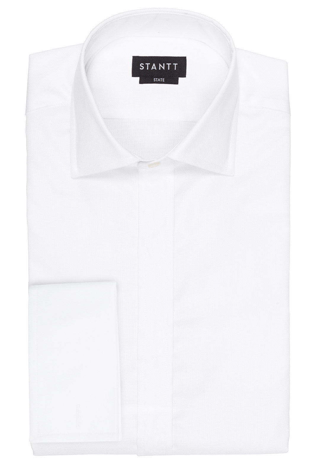 White Royal Oxford Formal Shirt: Modified-Spread Collar, French Cuff, Studded Placket