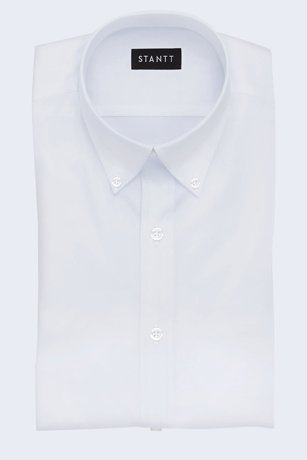White Mini Herringbone: Button-Down Collar, Barrel Cuff