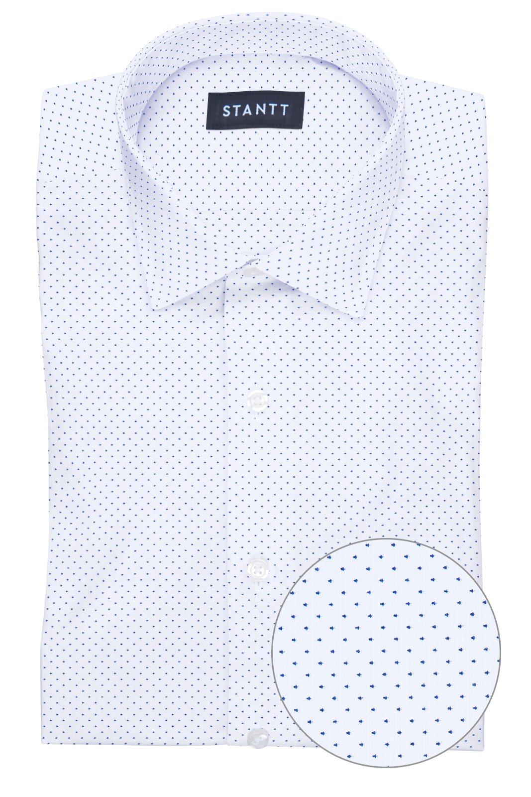 White Pin Dot: Modified-Spread Collar, French Cuff