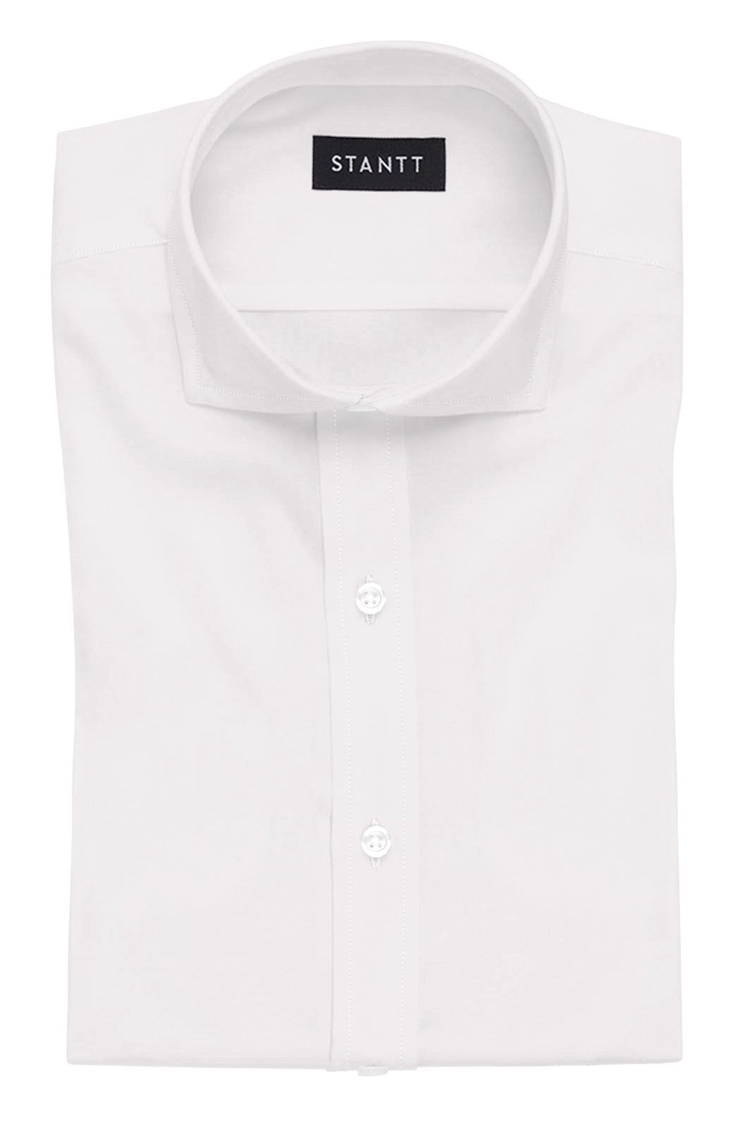 White Stretch: Cutaway Collar, Barrel Cuff