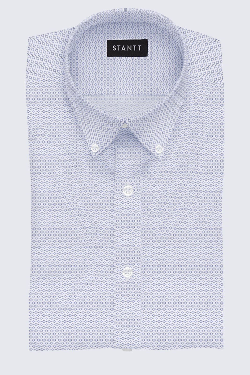 White Sunburst Print: Button-Down Collar, Barrel Cuff