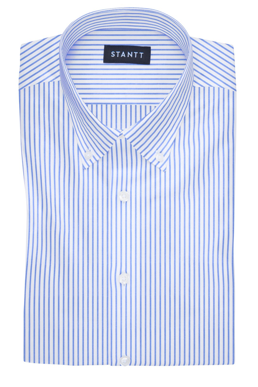 Wrinkle-Resistant Blue Bengal Stripe: Button-Down Collar, Barrel Cuff
