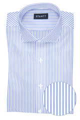 Wrinkle-Resistant Blue Bengal Stripe: Cutaway Collar, French Cuff