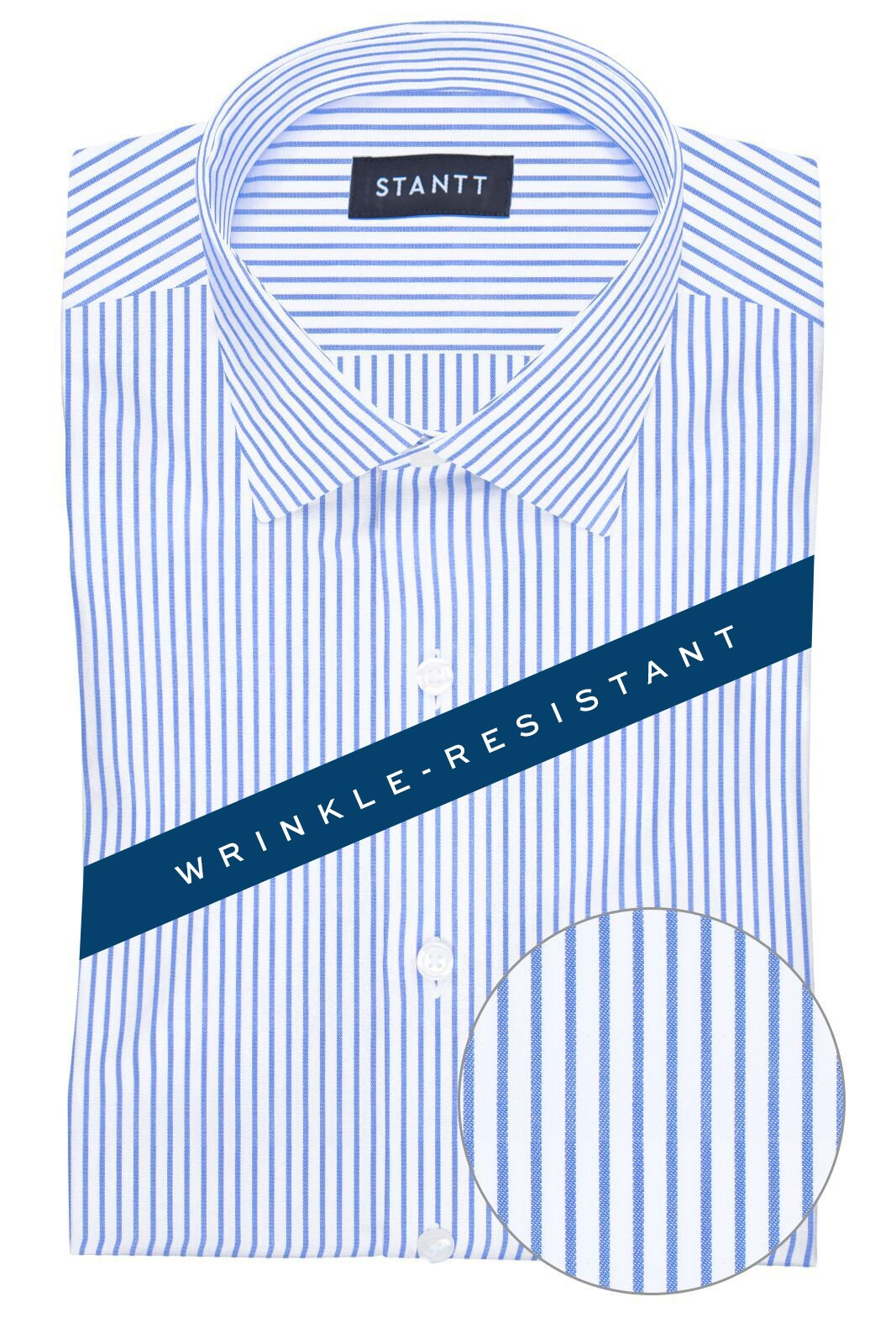 Wrinkle-Resistant Blue Bengal Stripe: Modified-Spread Collar, French Cuff