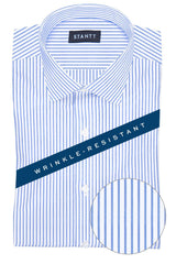 Wrinkle-Resistant Blue Bengal Stripe: Modified-Spread Collar, Barrel Cuff