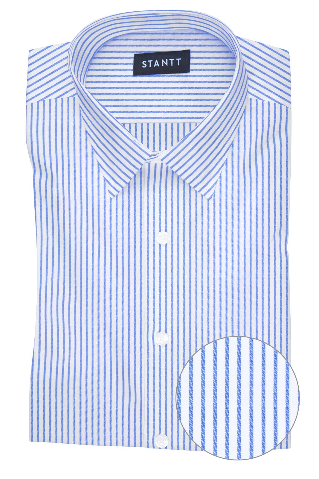 Wrinkle-Resistant Blue Bengal Stripe: Semi-Spread Collar, French Cuff