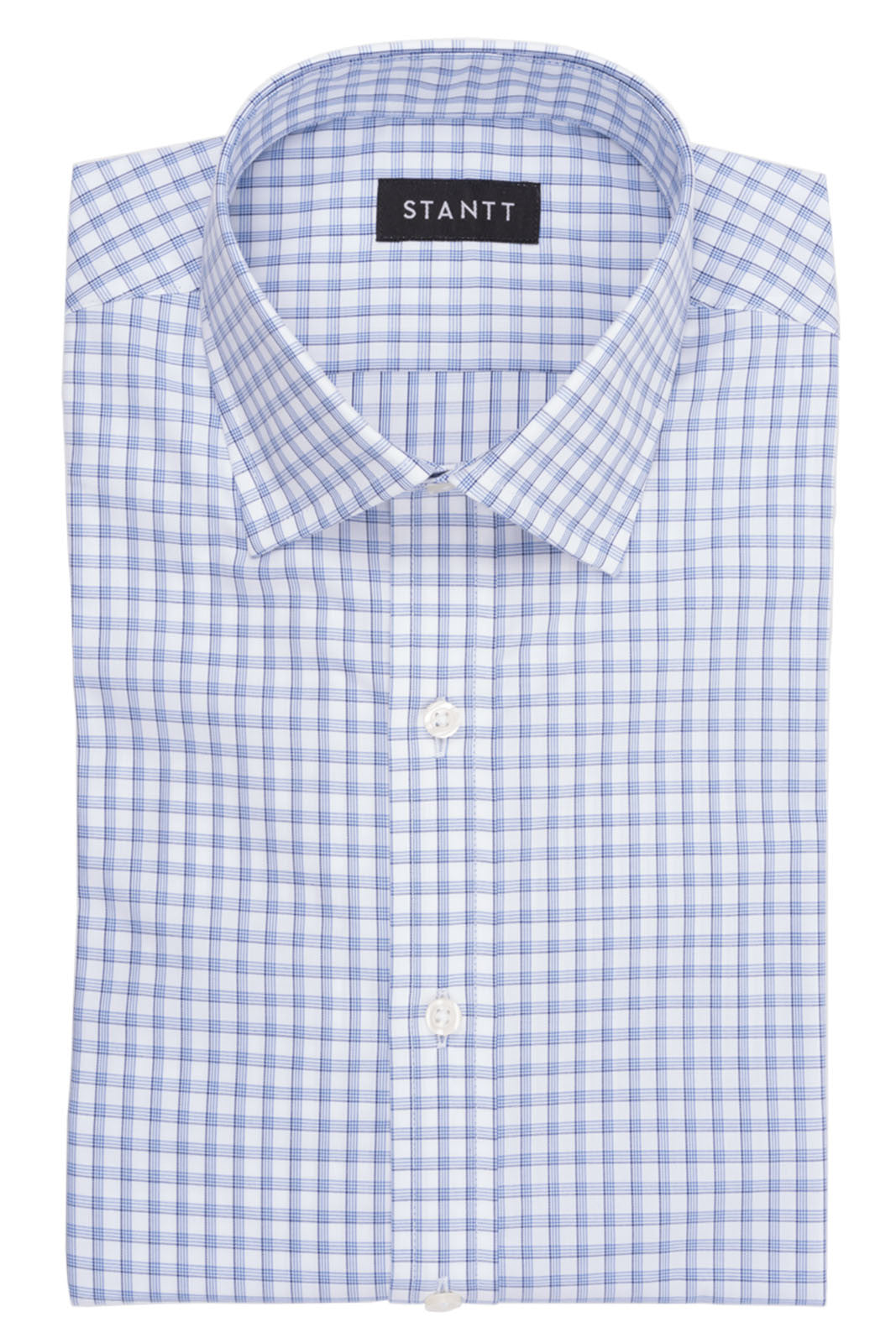 Wrinkle-Resistant Navy Accented Multi Grid Check: Semi-Spread Collar, French Cuff