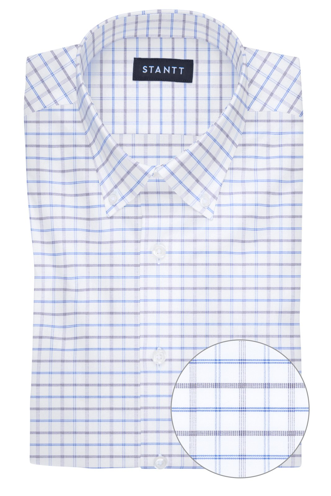 Wrinkle-Resistant Blue and Smoke Tattersall: Button-Down Collar, Barrel Cuff