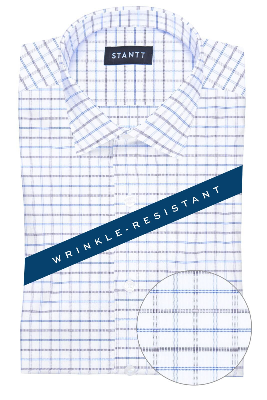 Wrinkle-Resistant Blue and Smoke Tattersall: Modified-Spread Collar, Barrel Cuff