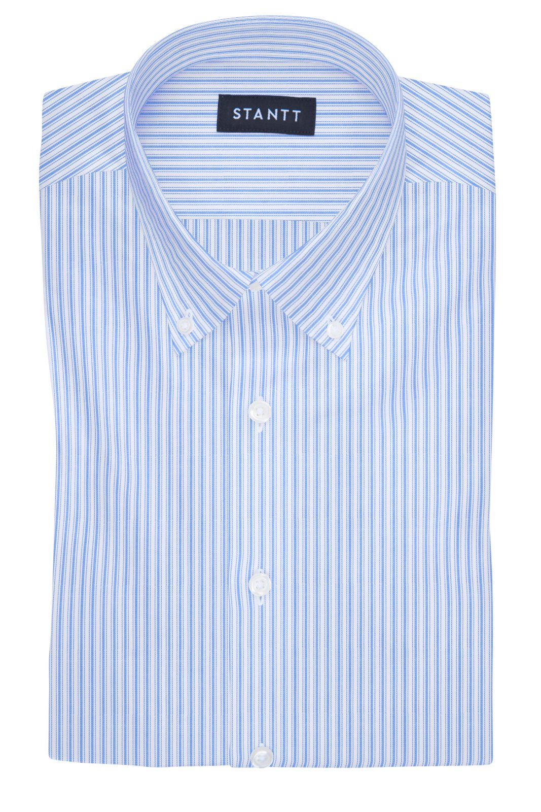 British Blue Accented Stripe: Button-Down Collar, Barrel Cuff