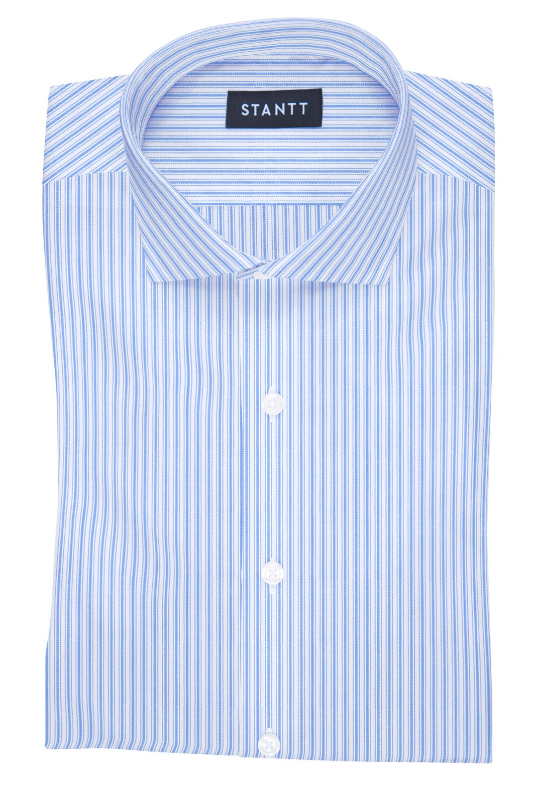 British Blue Accented Stripe: Cutaway Collar, French Cuff