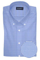 Wrinkle-Resistant Indigo Mini Gingham: Button-Down Collar, Barrel Cuff