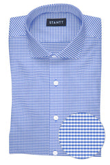 Wrinkle-Resistant Indigo Mini Gingham: Cutaway Collar, Barrel Cuff