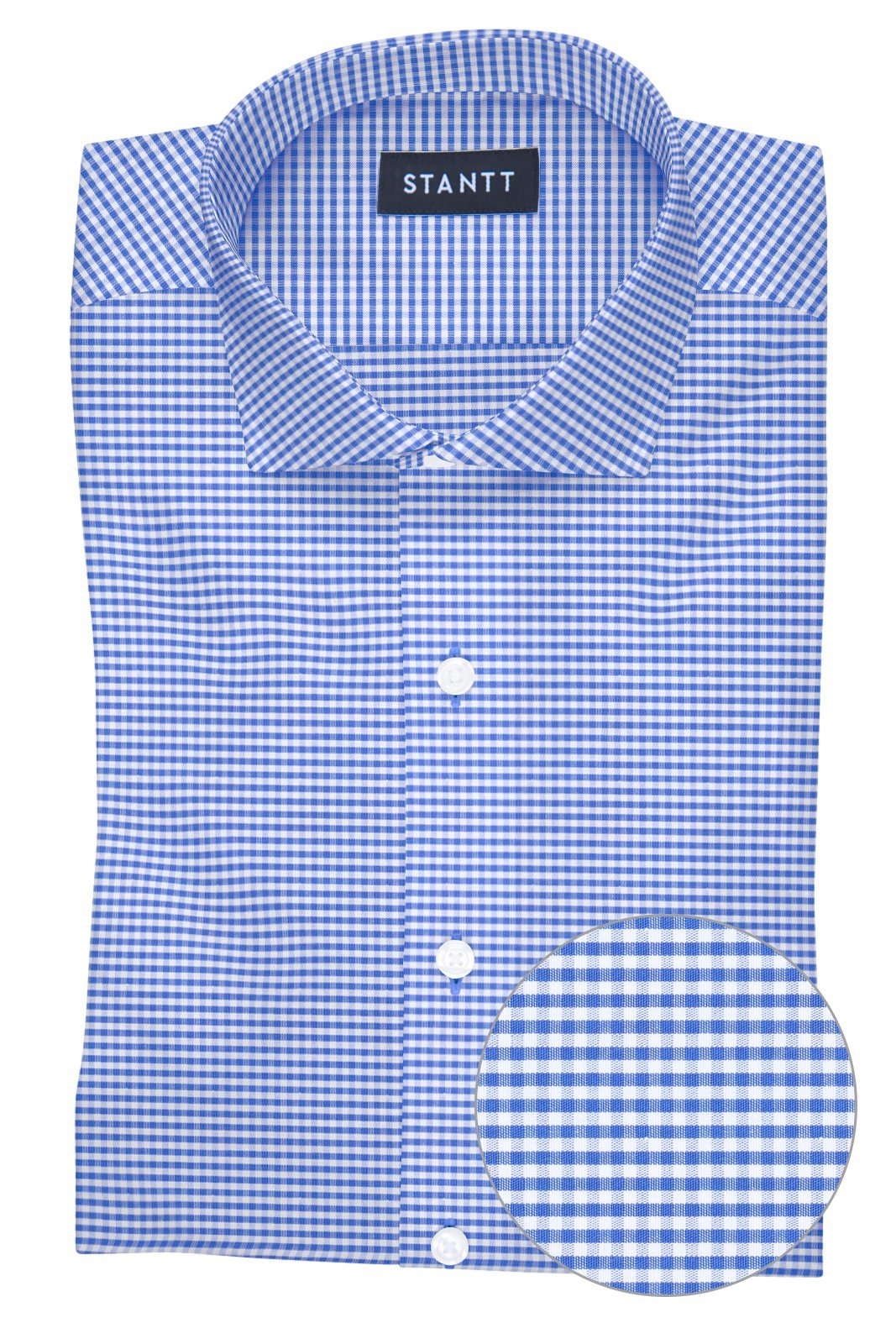 Wrinkle-Resistant Indigo Mini Gingham: Cutaway Collar, French Cuff