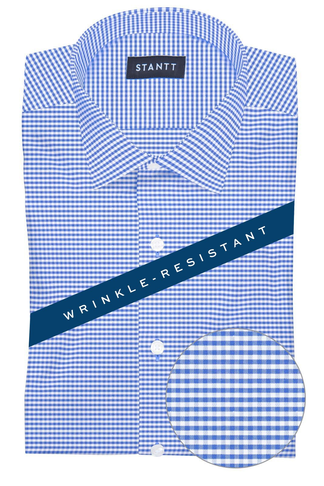 Wrinkle-Resistant Indigo Mini Gingham
