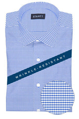 Wrinkle-Resistant Indigo Mini Gingham: Modified-Spread Collar, Barrel Cuff