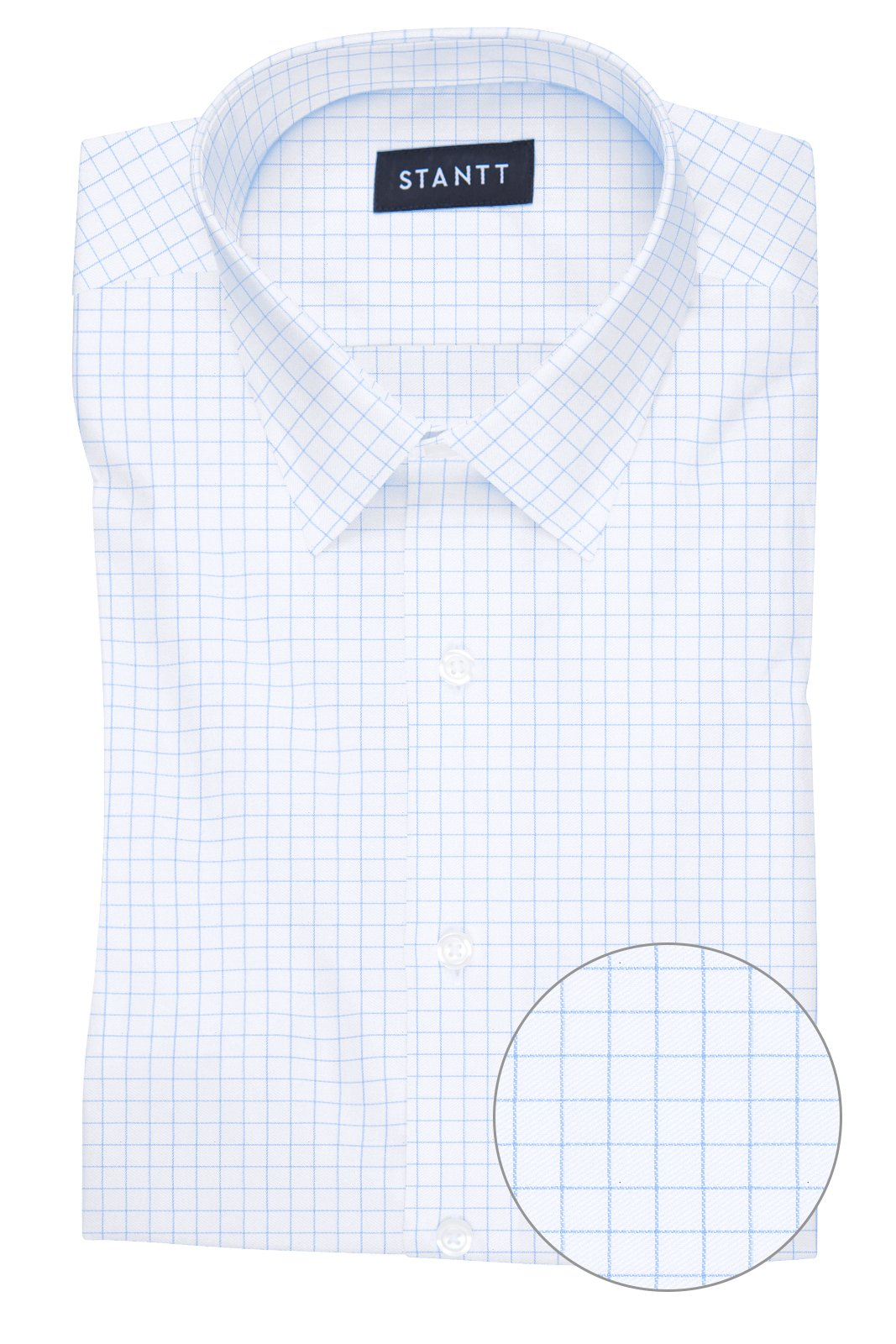 Wrinkle-Resistant Light Blue Graph Check: Semi-Spread Collar, Barrel Cuff