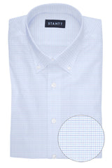 Wrinkle-Resistant Multi-Blue Dobby Check: Button-Down Collar, Barrel Cuff