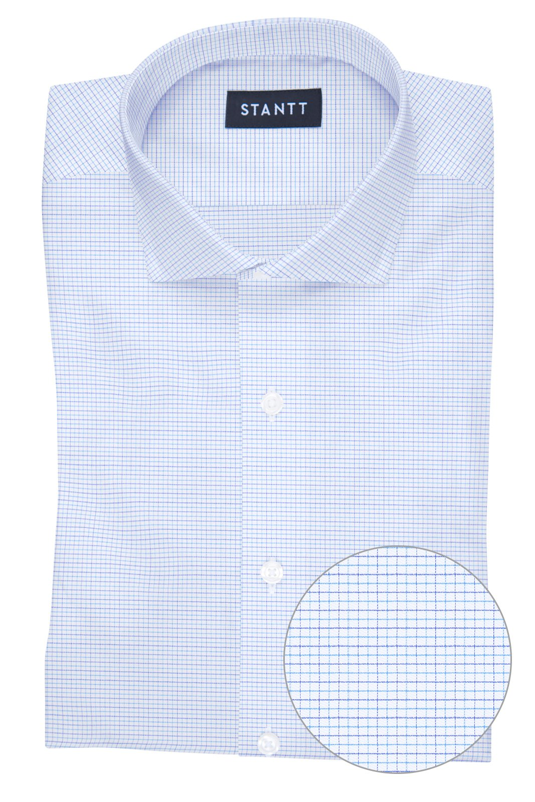 Wrinkle-Resistant Multi-Blue Dobby Check: Cutaway Collar, Barrel Cuff
