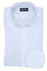 Wrinkle-Resistant Multi-Blue Dobby Check: Cutaway Collar, French Cuff