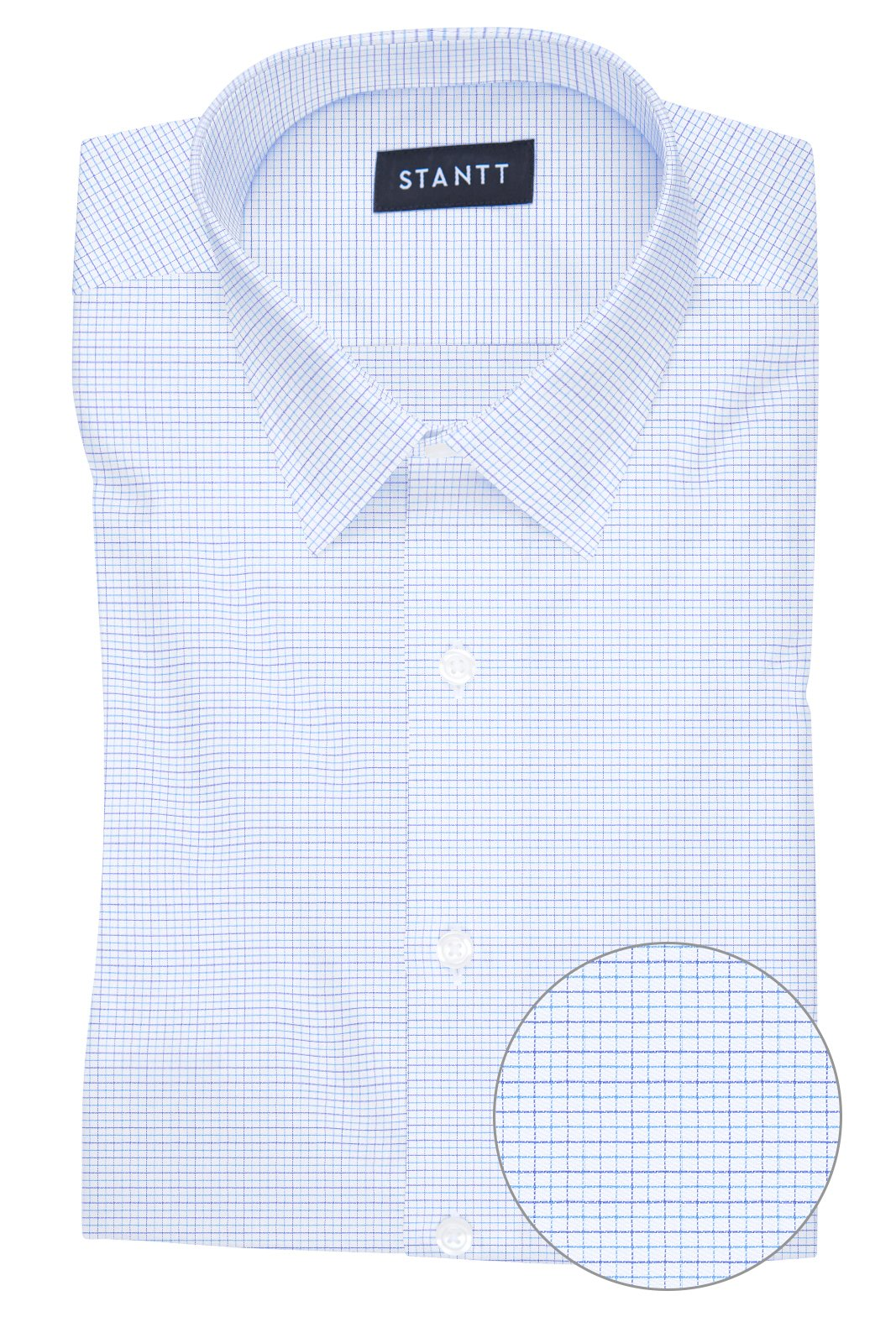 Wrinkle-Resistant Multi-Blue Dobby Check: Semi-Spread Collar, French Cuff