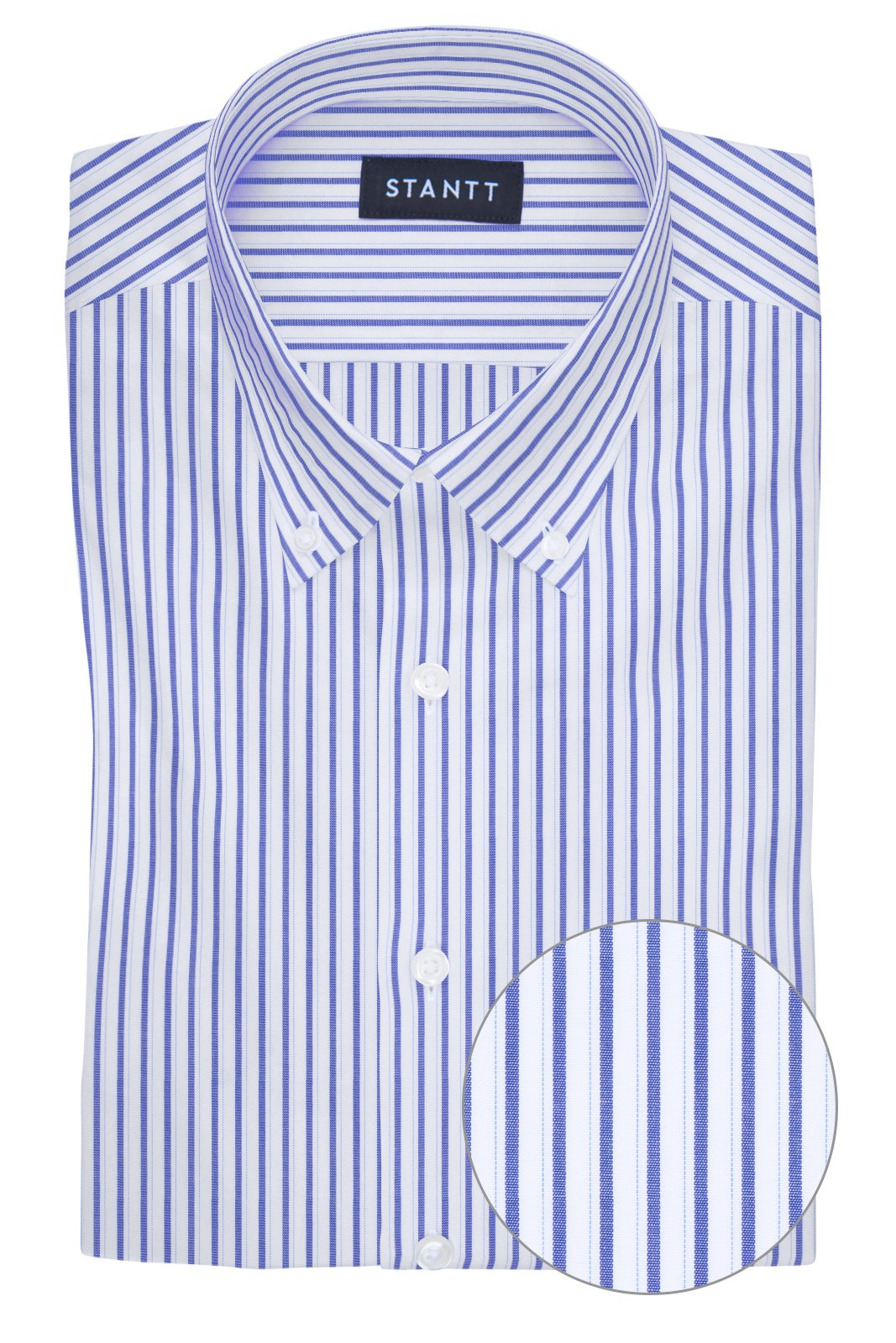 Wrinkle-Resistant Navy Shadow Stripe: Button-Down Collar, Barrel Cuff