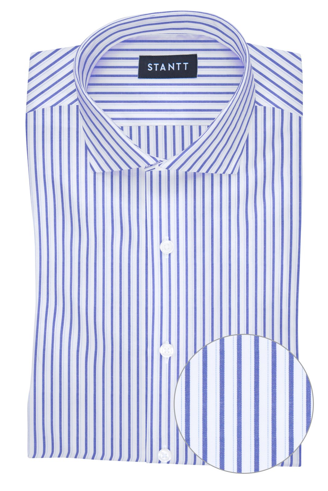 Wrinkle-Resistant Navy Shadow Stripe: Cutaway Collar, French Cuff