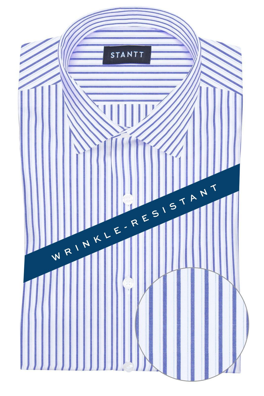 Wrinkle-Resistant Navy Shadow Stripe: Modified-Spread Collar, Barrel Cuff