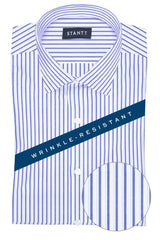 Wrinkle-Resistant Navy Shadow Stripe: Modified-Spread Collar, French Cuff