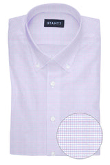 Wrinkle-Resistant Pink and Blue Dobby Check: Button-Down Collar, Barrel Cuff