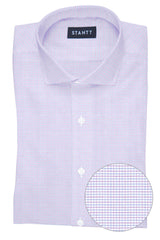 Wrinkle-Resistant Pink and Blue Dobby Check: Cutaway Collar, Barrel Cuff