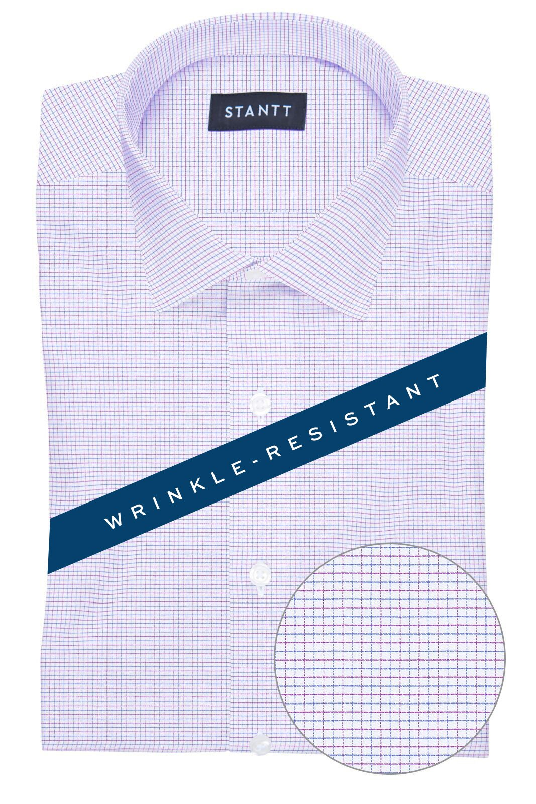 Wrinkle-Resistant Pink and Blue Dobby Check: Modified-Spread Collar, Barrel Cuff
