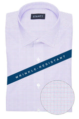 Wrinkle-Resistant Pink and Blue Dobby Check: Modified-Spread Collar, French Cuff