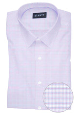 Wrinkle-Resistant Pink and Blue Dobby Check: Semi-Spread Collar, French Cuff
