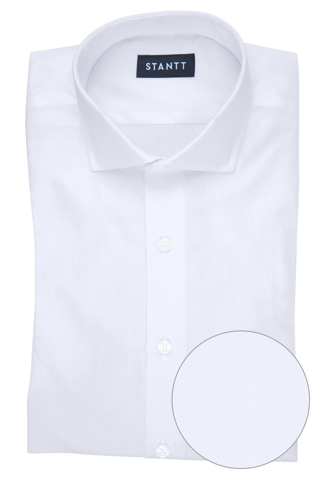 Wrinkle-Resistant White Heart Dobby: Cutaway Collar, Barrel Cuff