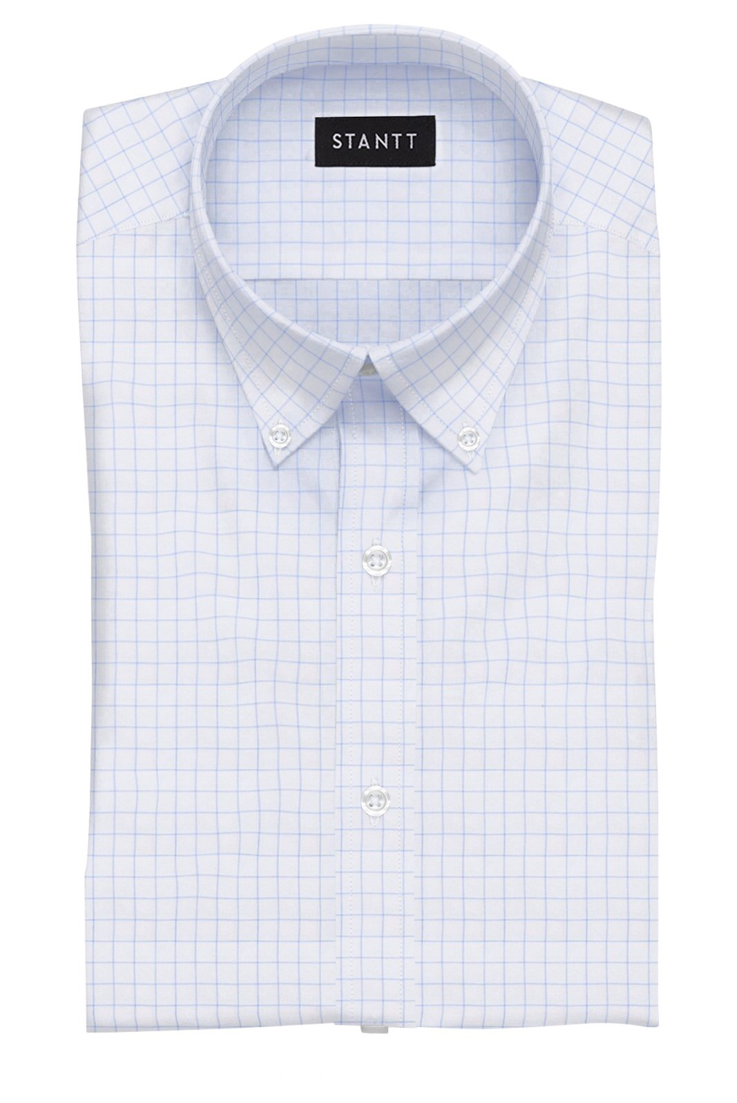 Blue Hairline Windowpane: Button-Down Collar, Barrel Cuff