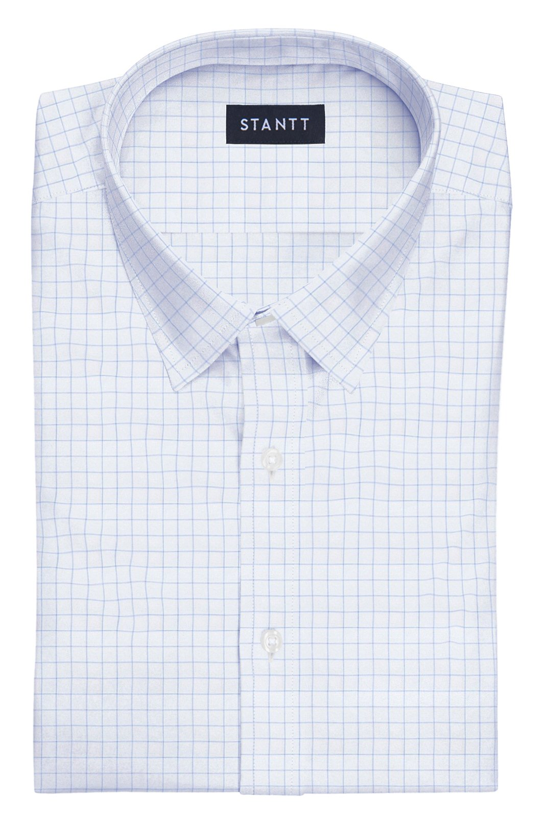 Blue Hairline Windowpane: Semi-Spread Collar, French Cuff