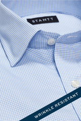 Wrinkle-Resistant Light Blue Accented Mini-Check