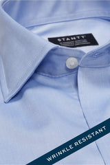 Wrinkle-Resistant Light Blue Twill: Modified-Spread Collar, French Cuff