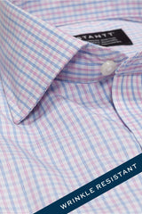Wrinkle-Resistant Light Blue and Pink Bordered Tattersall