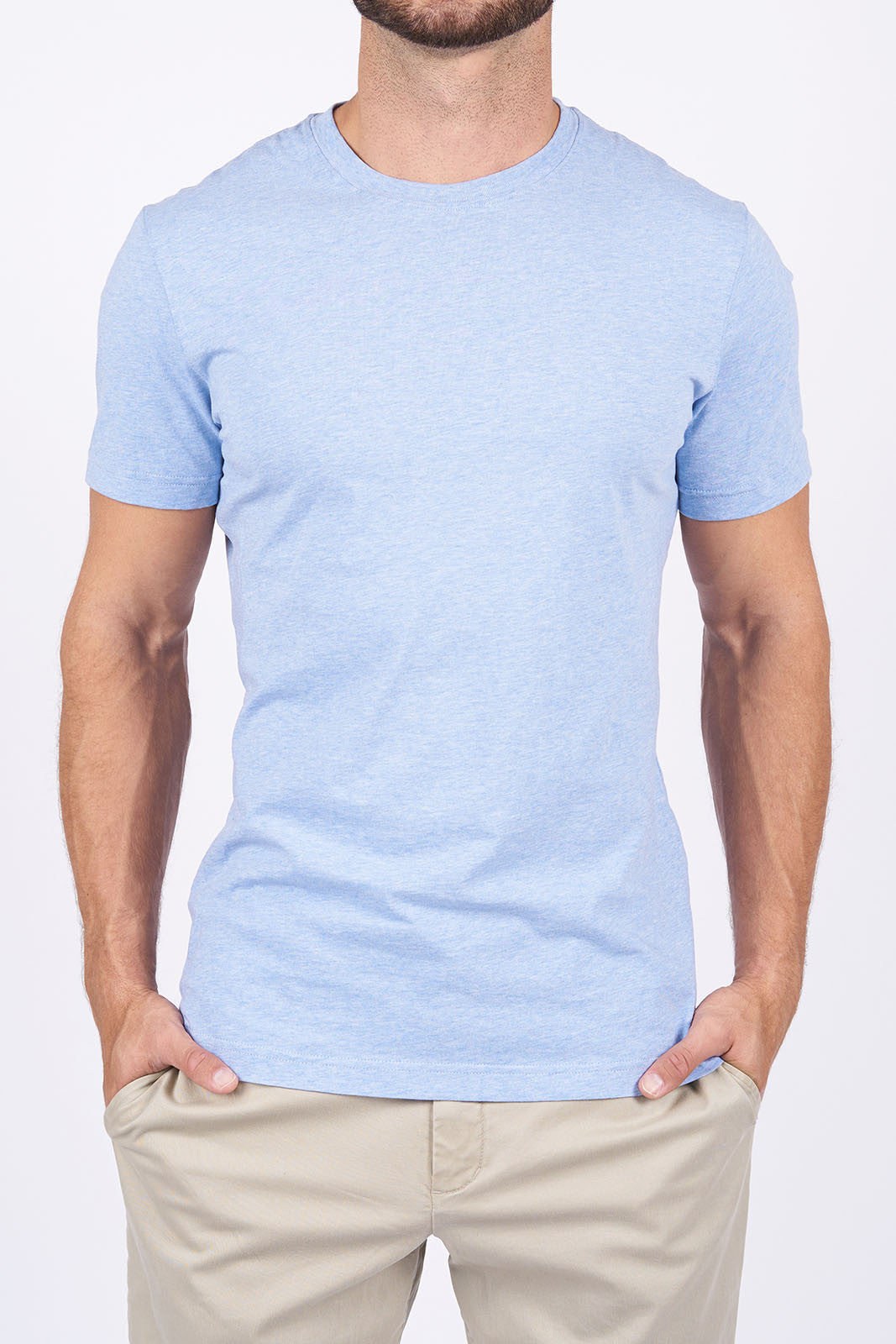 Heather Blue Long-Staple Cotton T-Shirt: Crew Neck