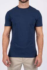 Navy Long-Staple Cotton T-Shirt: Crew Neck