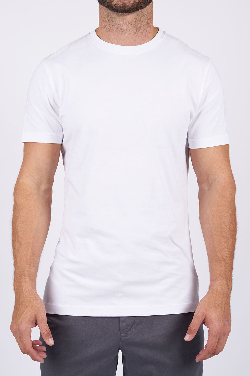 White Long-Staple Cotton T-Shirt: Crew Neck