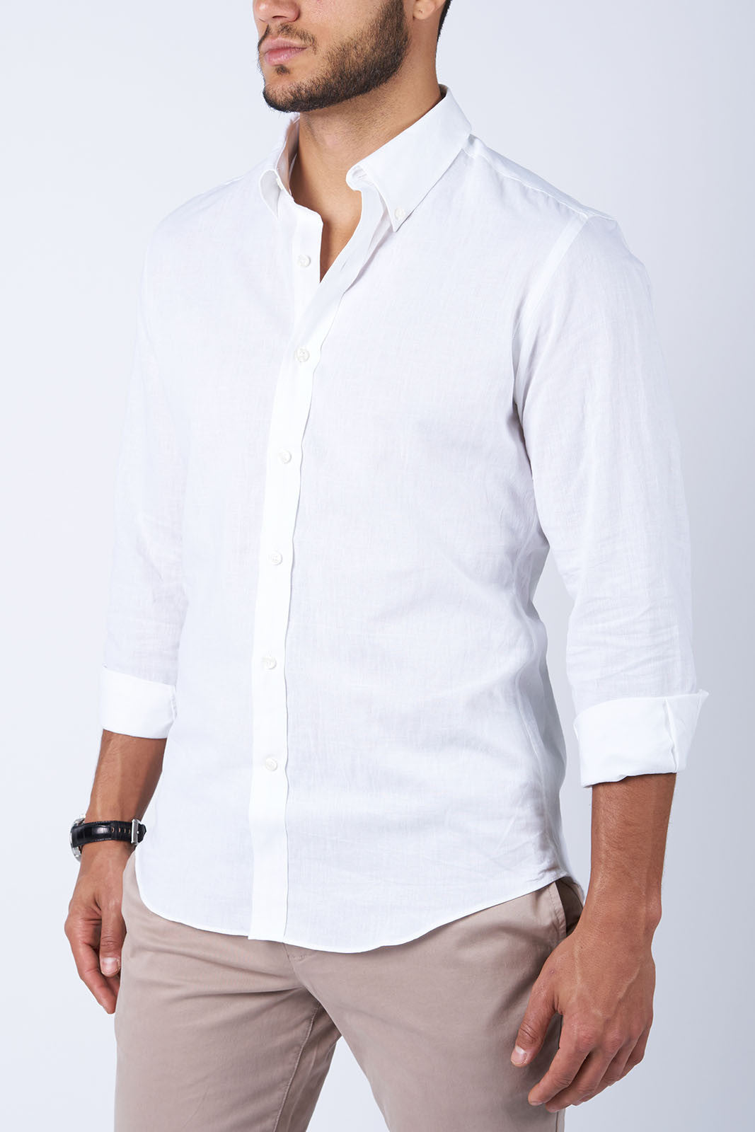 White Linen: Semi-Spread Collar, Barrel Cuff