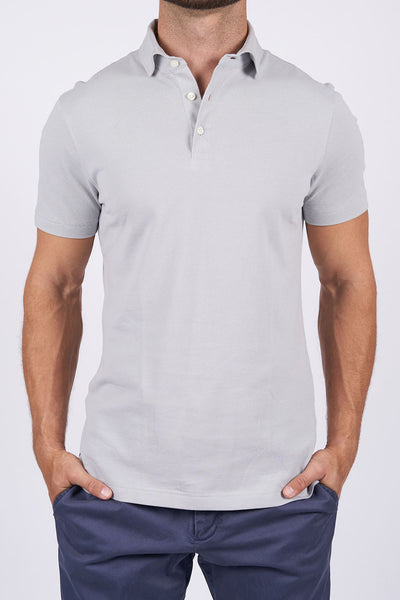 Grey Long-Staple Cotton Polo