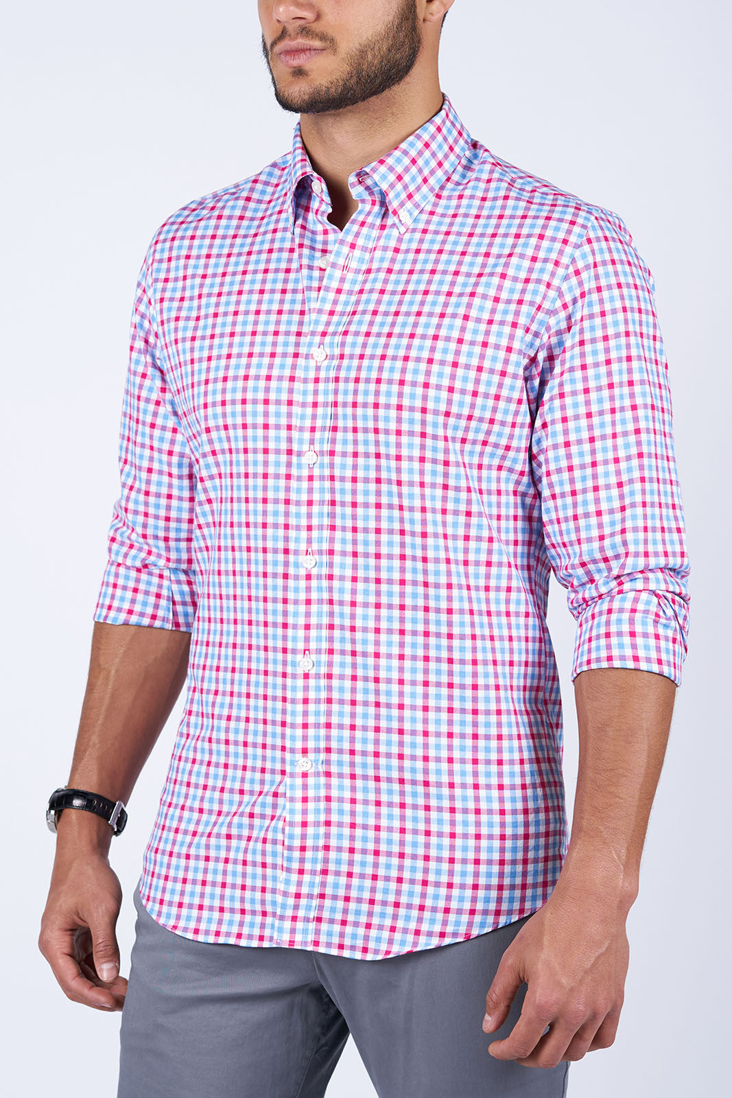 Red and Blue Gingham Oxford: Semi-Spread Collar, Barrel Cuff