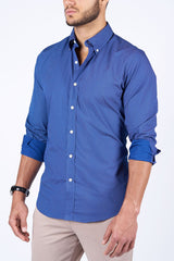 Navy Micro Dot: Button-Down Collar, Long Sleeve