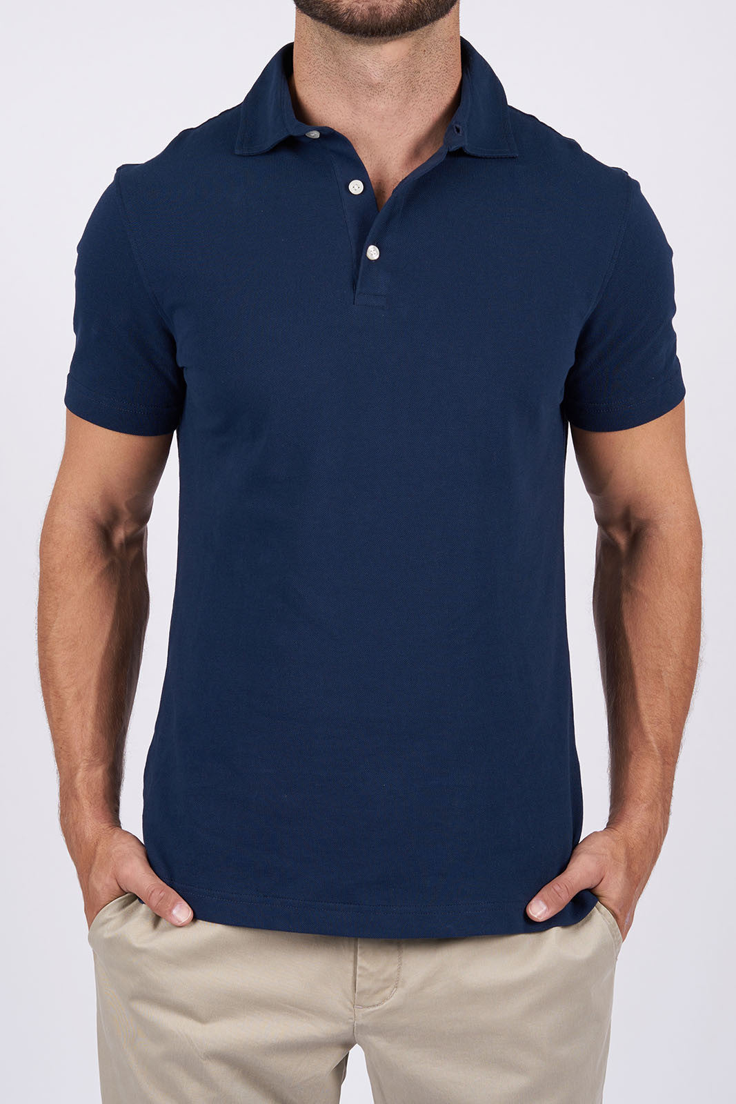 Navy Long-staple Cotton Polo